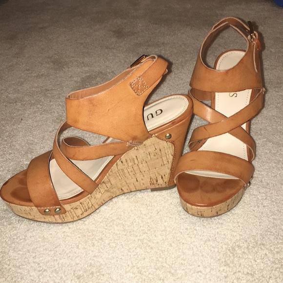 124838776f5b Guess Shoes - Women s Guess tan wedges